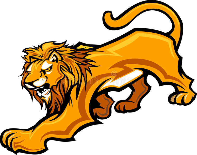 Löwe-Maskottchen-Karosserien-Grafik lizenzfreie abbildung
