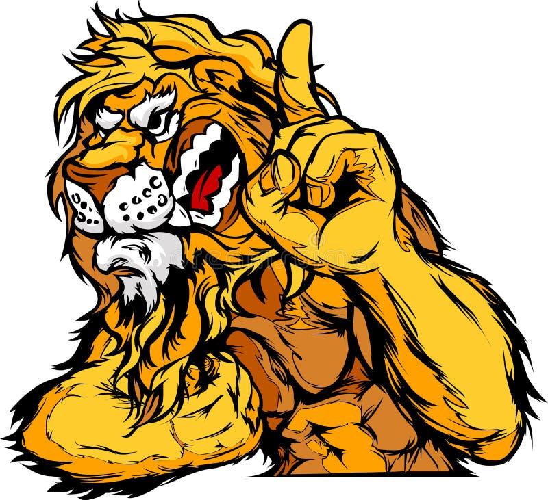 Löwe-Maskottchen-Karosserien-Karikatur vektor abbildung