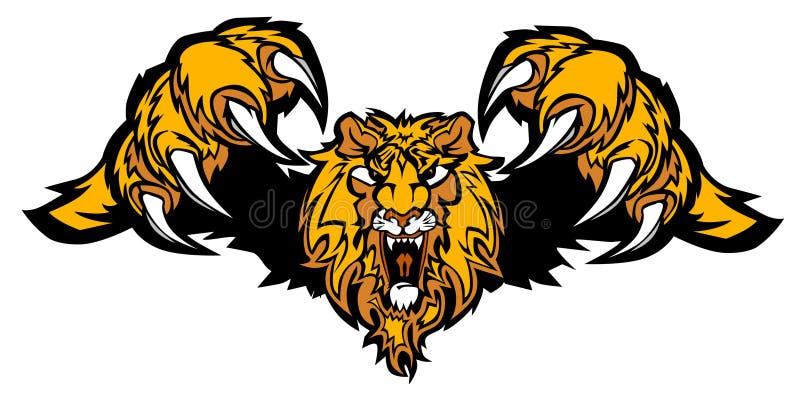 Löwe-Maskottchen-stürzenvektorzeichen stock abbildung