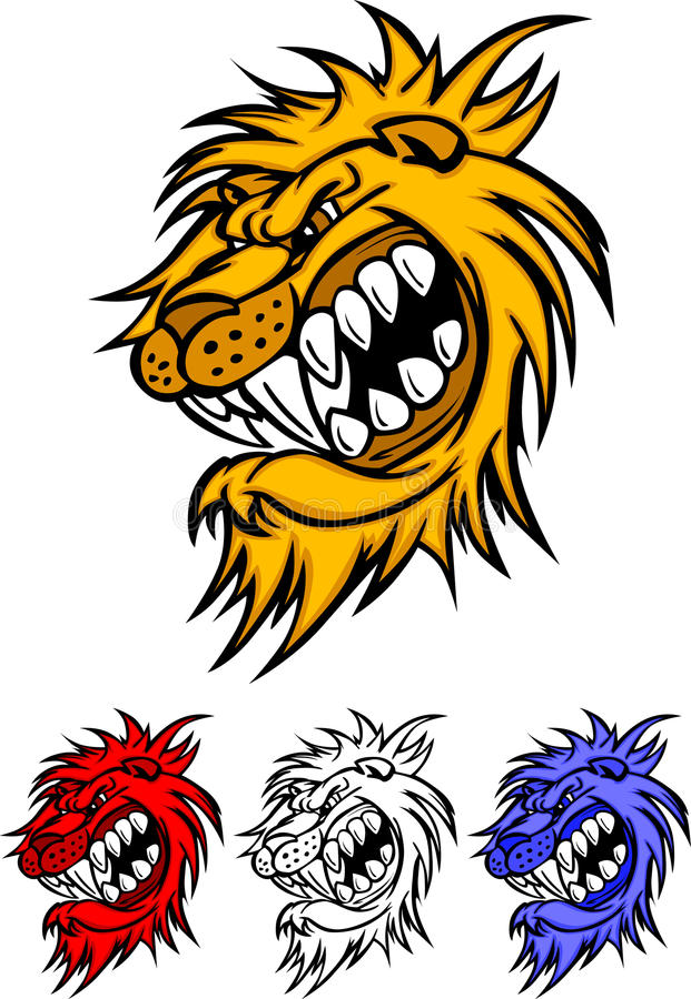 Löwe-Maskottchen-Zeichen vektor abbildung