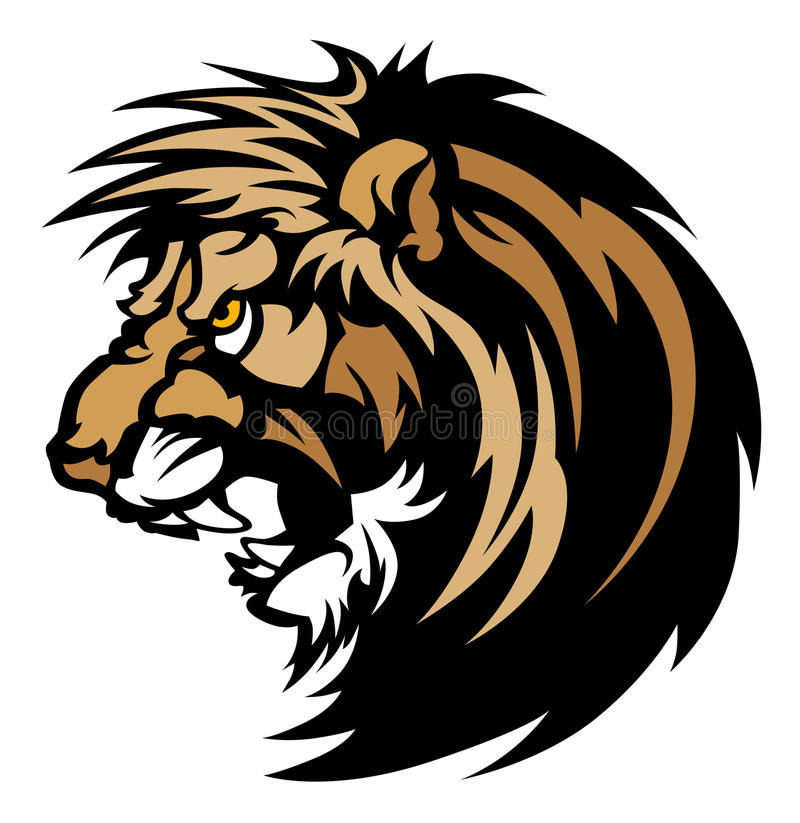 Löwe-Maskottchen-Zeichen stock abbildung