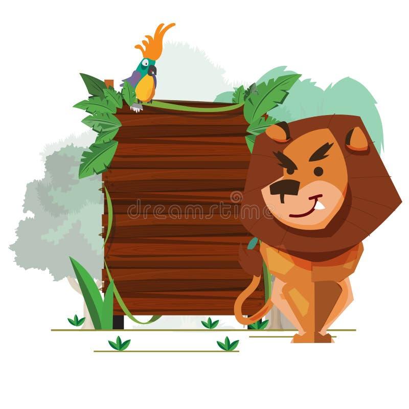 Löwe mit hölzernem Zeichenbrett des Dschungels - lizenzfreie abbildung