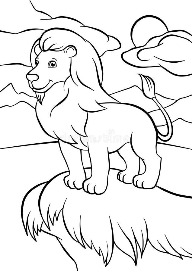Löwe steht auf dem Felsen stock abbildung