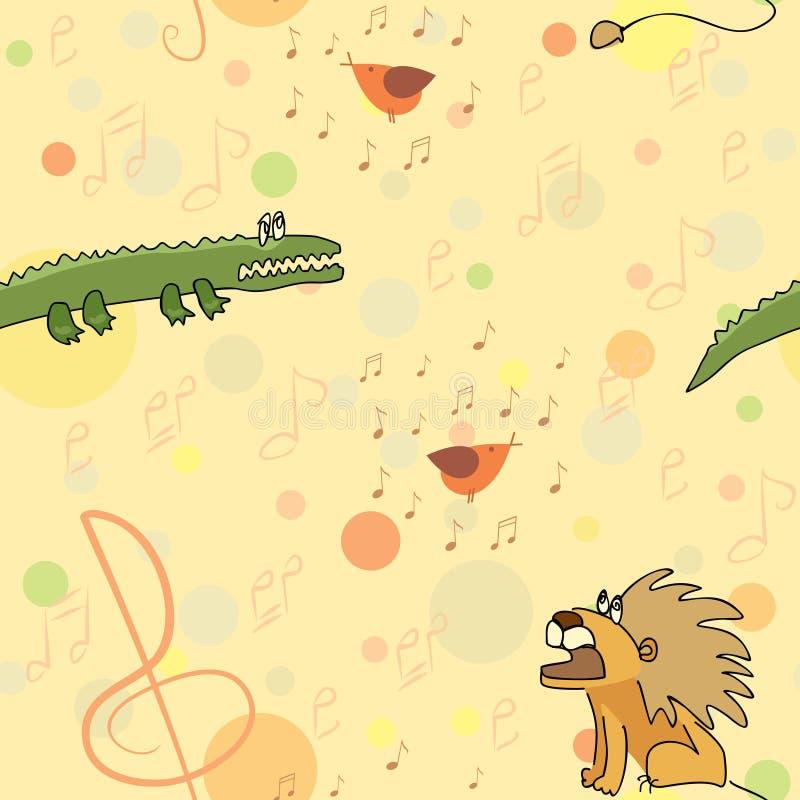 Löwe und Krokodil hören nahtloses Muster des Gesangs des Vogels stock abbildung