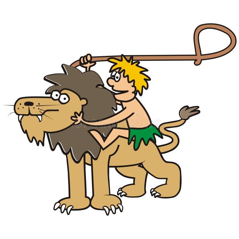 Löwe und Mann lizenzfreie abbildung