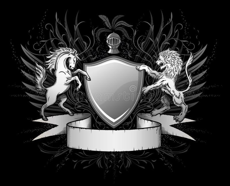 Löwe-und Pferden-Schild-Abzeichen stock abbildung