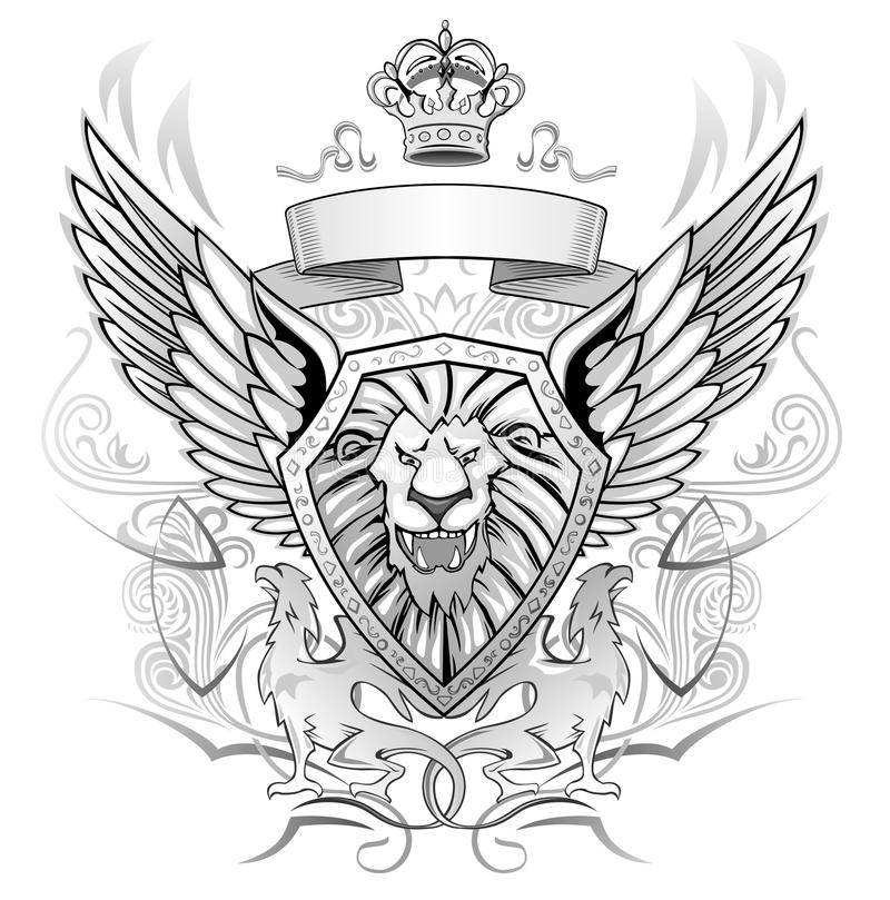 Löwe Winged Schild-Abzeichen stock abbildung