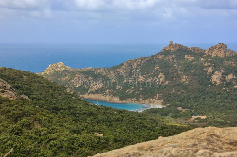 Löwefelsen von Roccapina, Korsika-Insel stockbild
