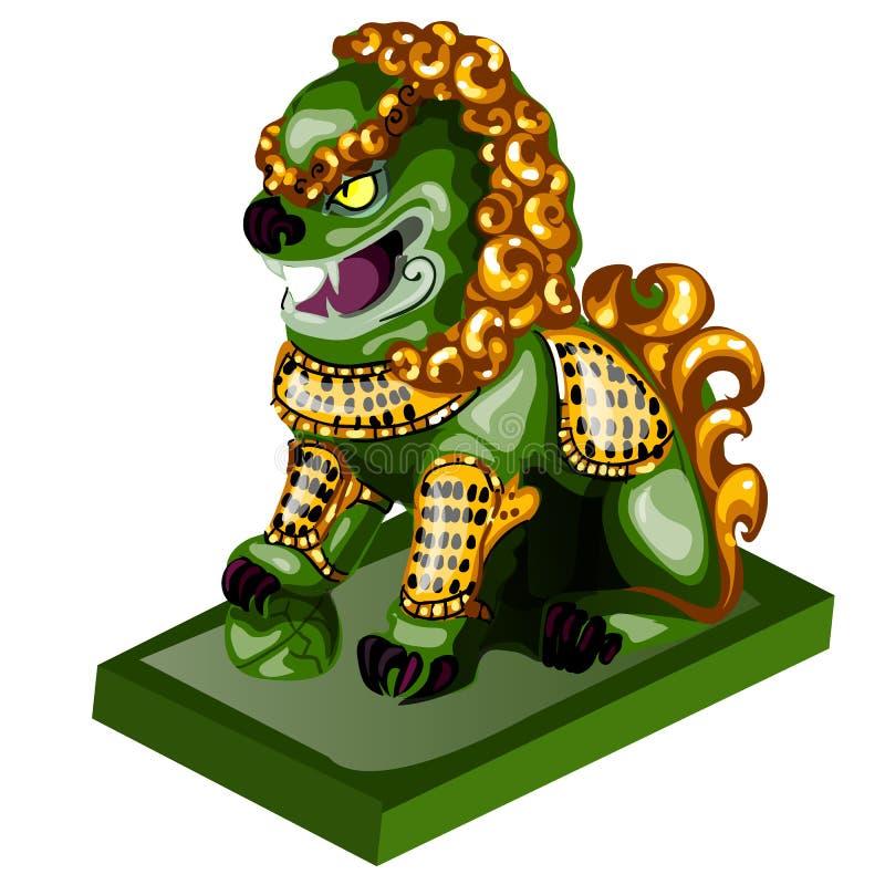 Löwefigürchen hergestellt von der Jade lokalisiert auf weißem Hintergrund Statuette des Nephrits in der orientalischen Art Vektor lizenzfreie abbildung
