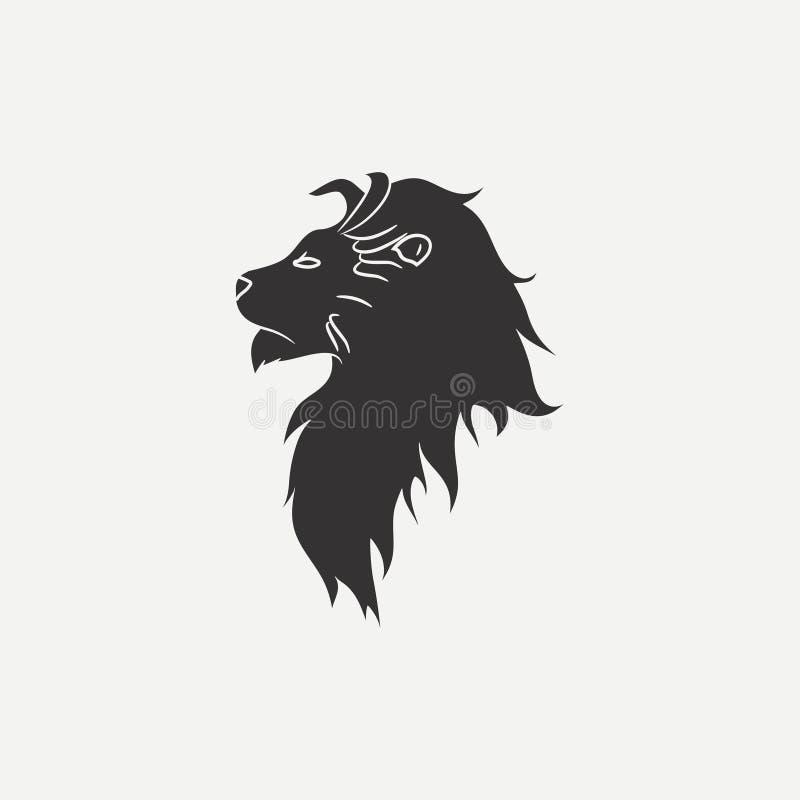 Löwehauptikone Schablone für Logo oder Emblem Vektor vektor abbildung