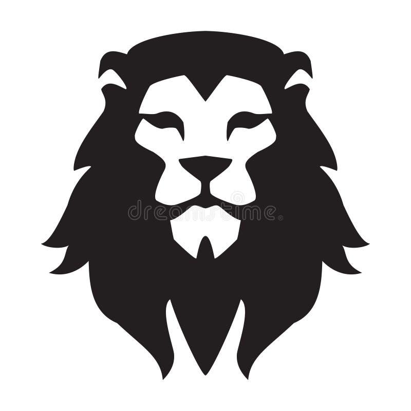 Löwehauptlogoschablone Tierwildkatzegesichts-Grafikzeichen Stolz, stark, Energiekonzeptsymbol lizenzfreie abbildung