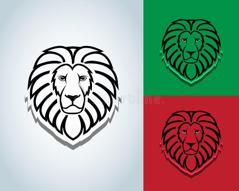 Löwehauptmaskottchendesign - vector Zeichenkonzeptillustration Lion Head Logo Wilde Löwekopf-Grafikillustration stock abbildung