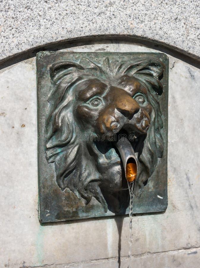 Löwehauptskulptur mit Wasserstrom stockfotografie