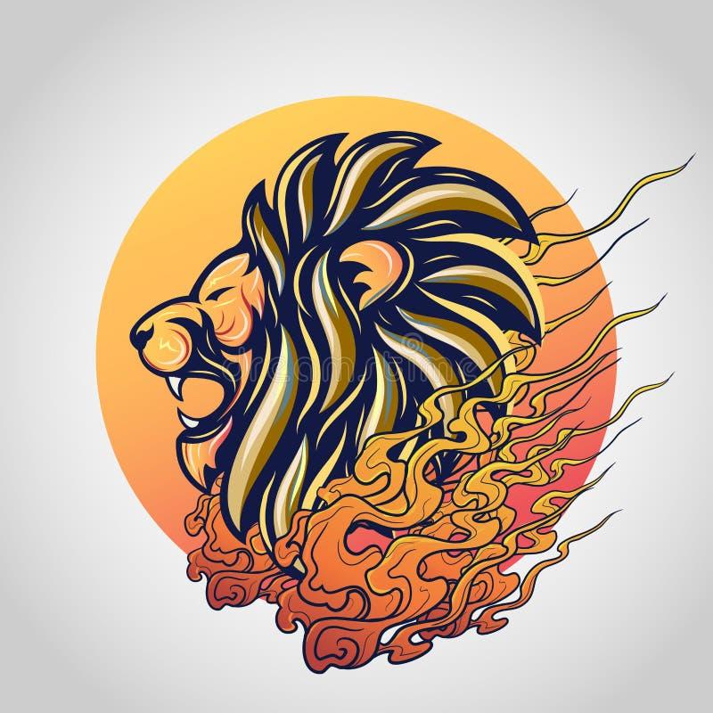 Löwehaupttätowierungslogo-Ikonenentwurf, Vektor lizenzfreie stockfotos