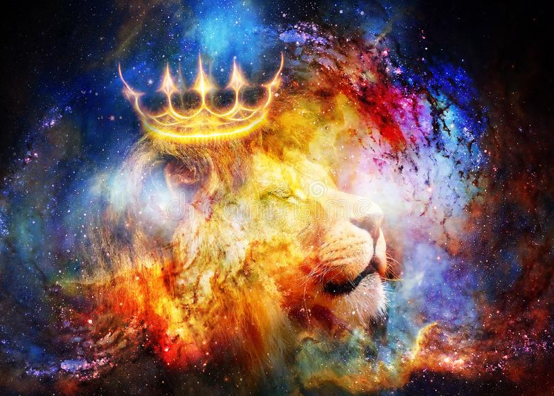Löwekönig im kosmischen Raum Löwe auf kosmischem Hintergrund stockfoto