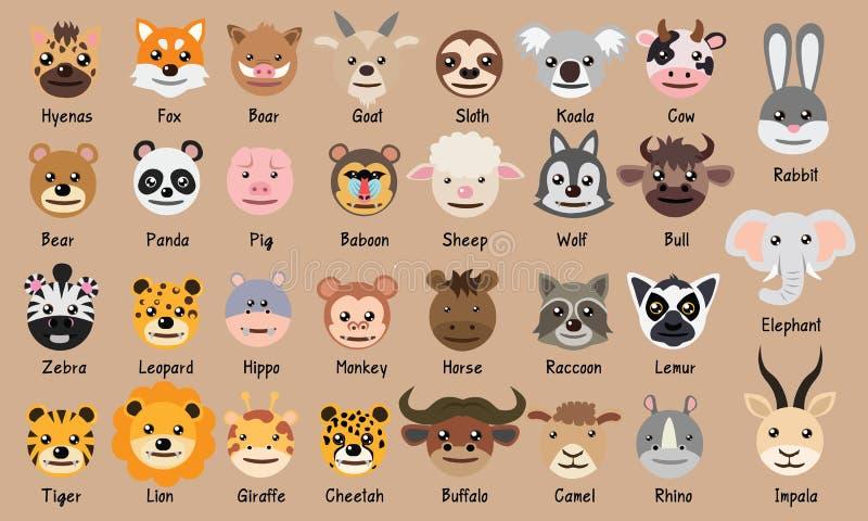 Löwekaninchenkuheberfuchskoala-Stierelefant-Makiwaschbärbüffeltigerflusspferdzebraleopard-Pandabärn-Schwein nette Hauptkarika lizenzfreie abbildung