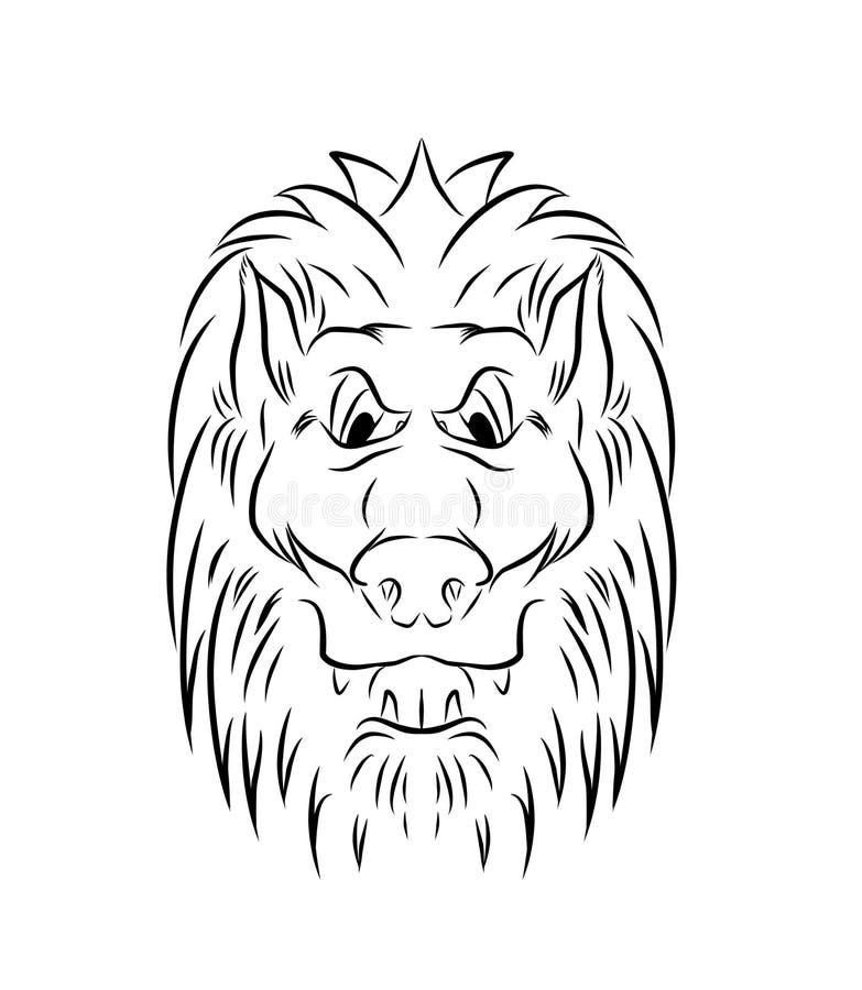 Löwekopf gezeichnet mit schwarzen Zeilendarstellung stockfotos