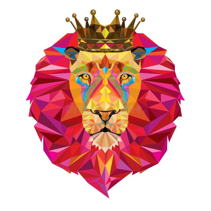 Löwekopf im geometrischen Muster lizenzfreies stockfoto