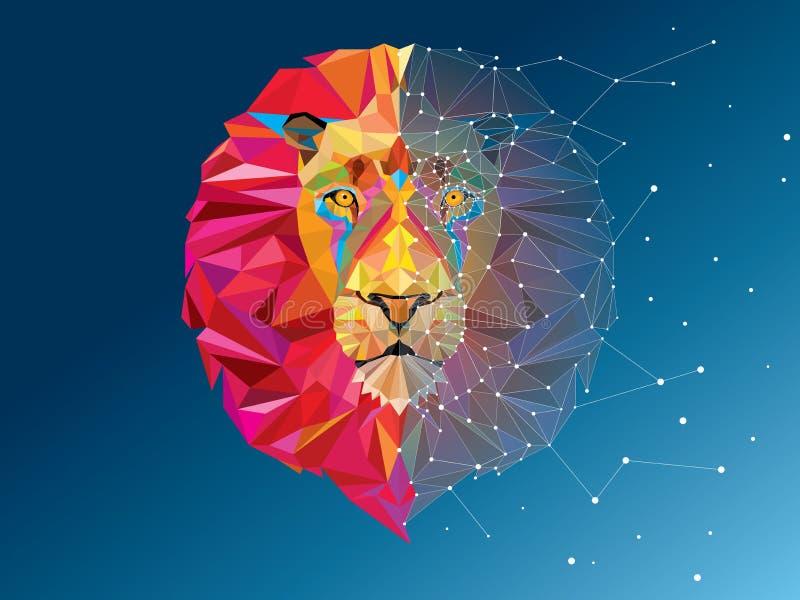 Löwekopf im geometrischen Muster mit Sternlinie stockfotografie