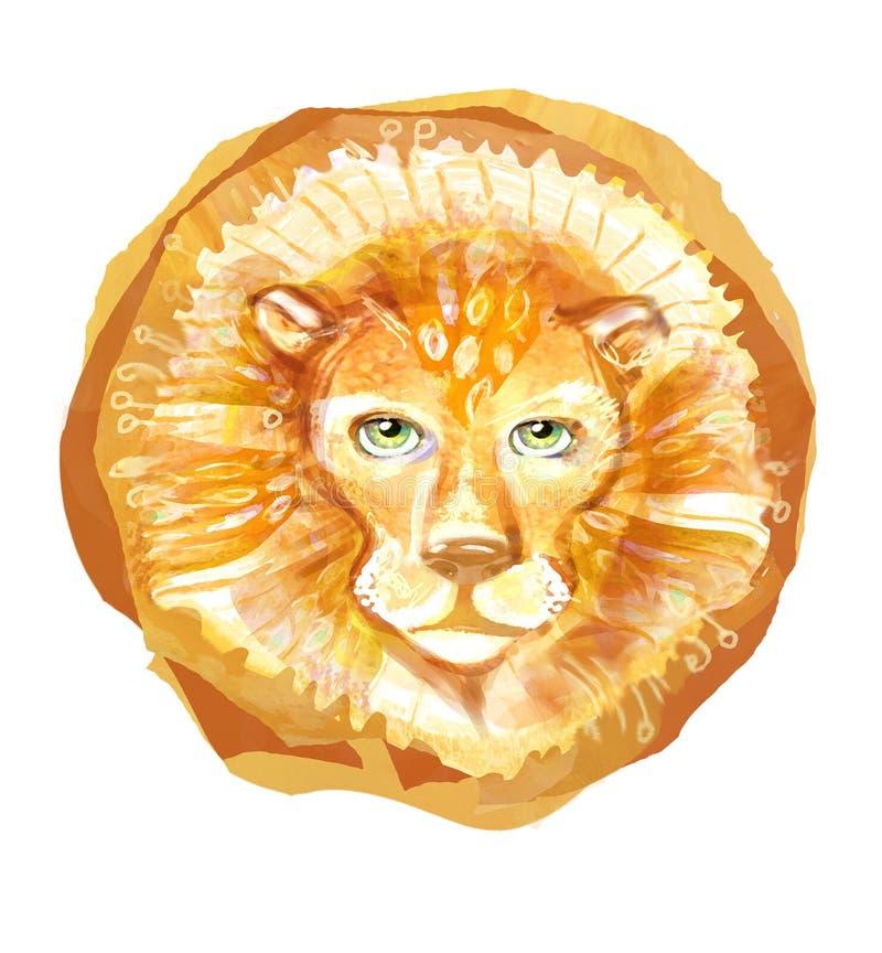 Löwekopf mit der Mähne lokalisiert auf weißem Hintergrund Porträtemblem des wilden Tieres Hand gezeichnetes Löwegesichtslogo Scha stock abbildung