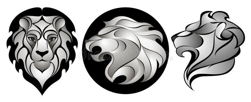 Löwen eingestellt Lion Head Logo Auf lagervektorabbildung stock abbildung