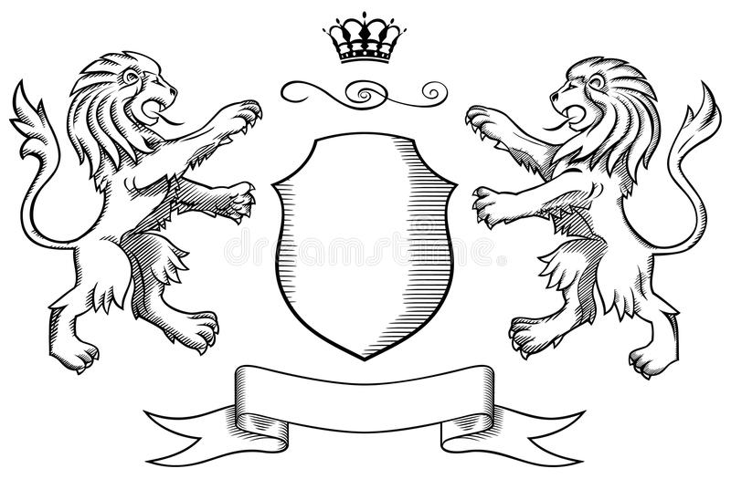 Löwen schirmen ab und krönen Abzeichen 2 lizenzfreie abbildung