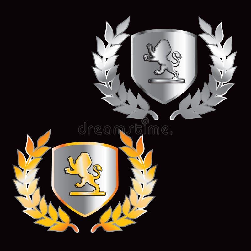 Löwescheitelschilder im Gold und im Silber lizenzfreie abbildung