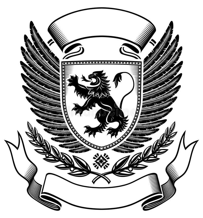Löweschild Abzeichen stock abbildung