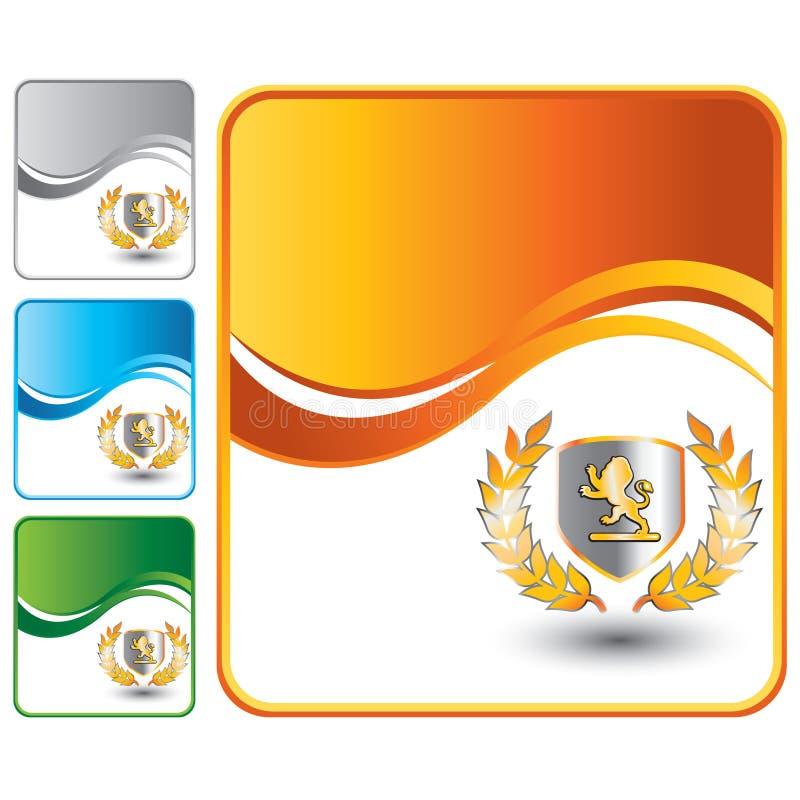 Löweschild auf orange Wellenhintergrund lizenzfreie abbildung