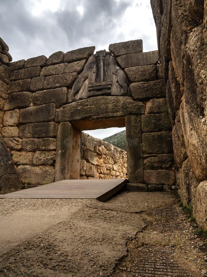 Löwetor von Mycenae, Argolida, Bronzezeitalterzivilisation stockfoto