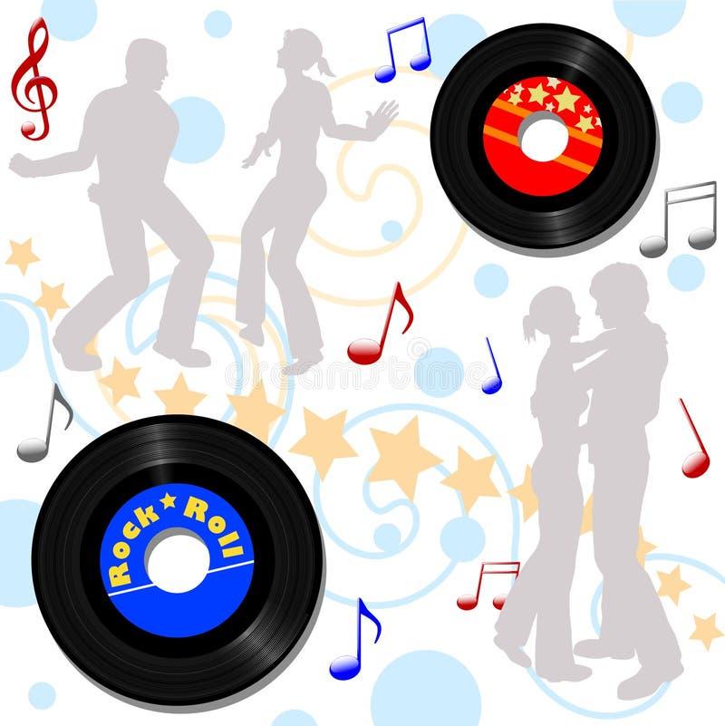 Lúpulo gravado do disco retro de 45 RPM ilustração royalty free