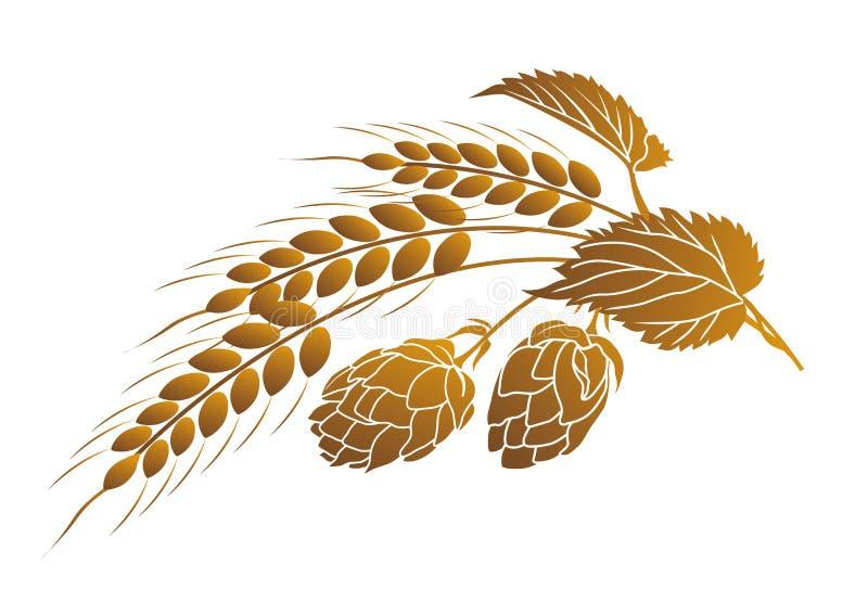 Lúpulos e trigo ilustração do vetor