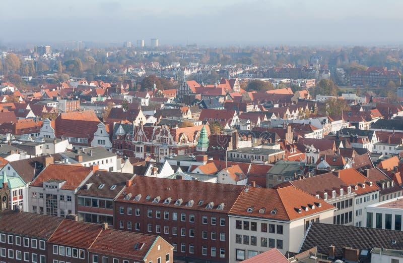 Lübeck, Duitsland Satellietbeeld van Lübeck stock afbeeldingen