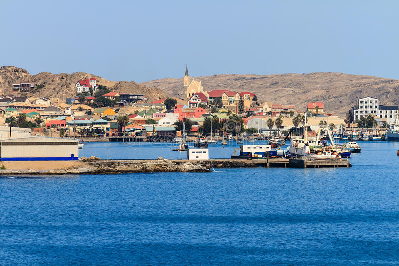 Lüderitz Harbour and town. Lüderitz is a harbour town in southwest Namibia, lying on one of the least hospitable coasts in Africa. It is a port developed royalty free stock image