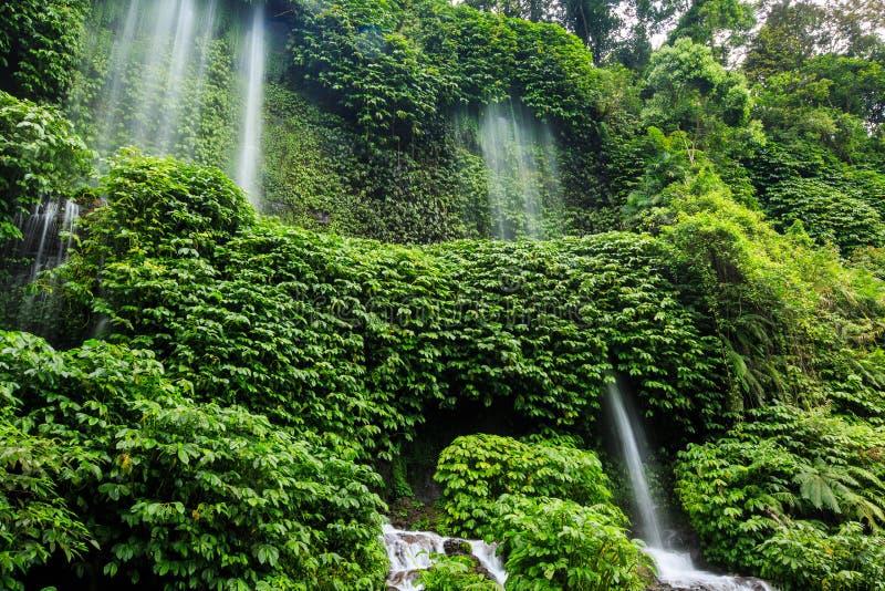 Lüften Sie Wasserfall Terjun Benang Kelambu auf der Insel Lombok stockfotos
