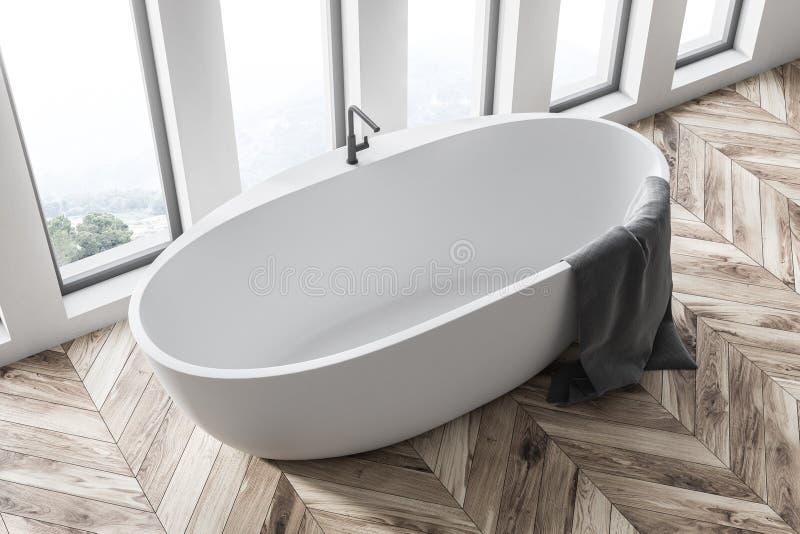 Lüpfen Sie Badezimmerinnenraum mit einer Draufsicht der weißen Wanne lizenzfreie abbildung