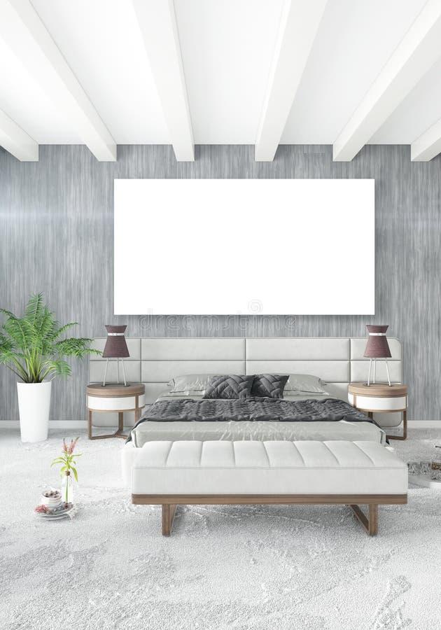 Lüpfen Sie Schlafzimmer in der Innenarchitektur der modernen Art mit eklektischer Wand und stilvollem Sofa Wiedergabe 3d lizenzfreie abbildung