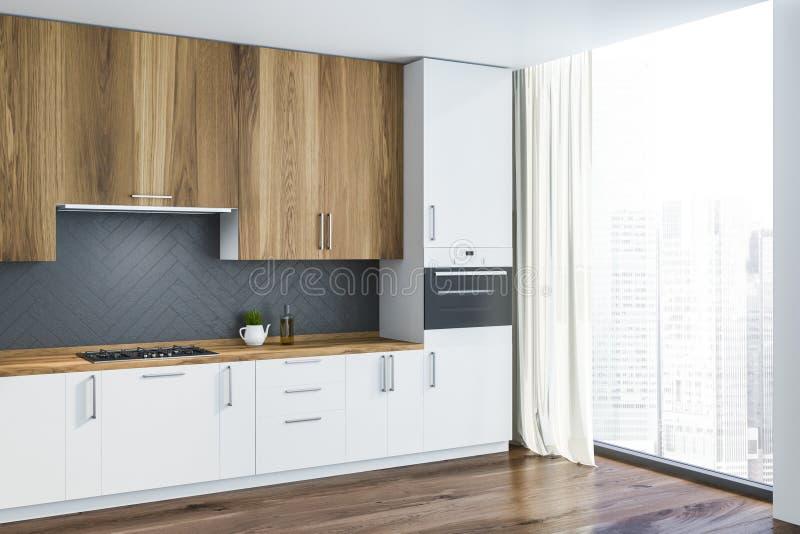 Lüpfen Sie weiße und graue Küchenecke lizenzfreie abbildung