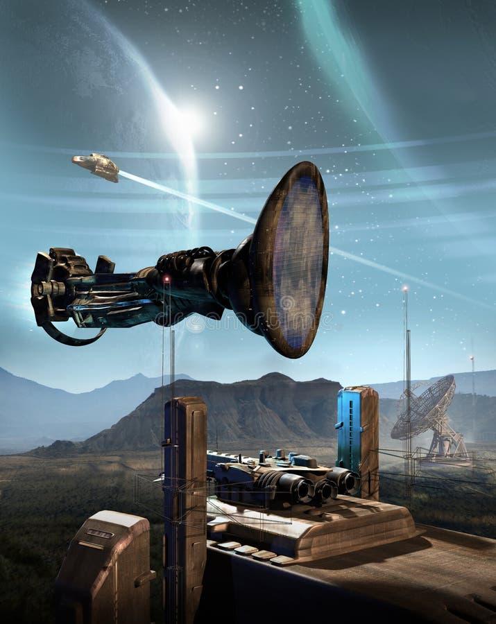 Lądować na przestrzeni bazie na obcej planecie ilustracji
