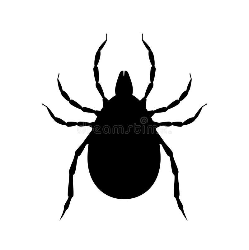 Lądzieniec czarna sylwetka Zaraza insekta symbol Flit ikona Bloodsucking pluskwa royalty ilustracja