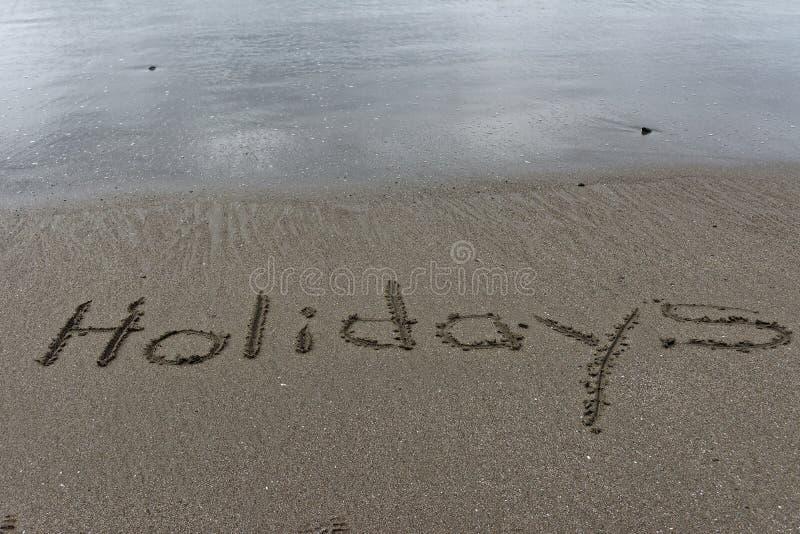 Lś mokrego piasek z wakacjami rysującymi w nim fotografia royalty free