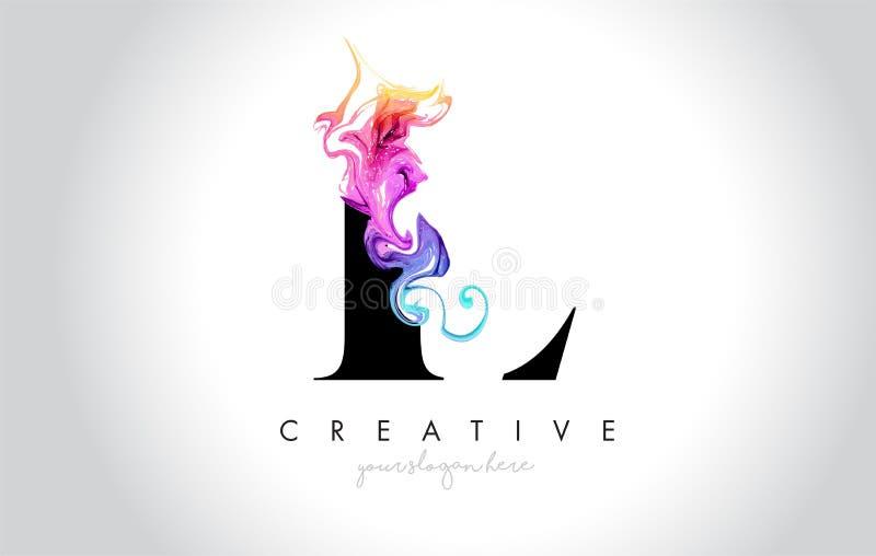 L与五颜六色的烟墨水Flo的充满活力的创造性的Leter商标设计 向量例证