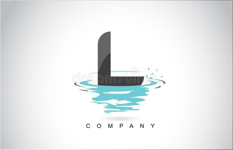 L信件与水飞溅的商标设计起波纹下落反射 向量例证