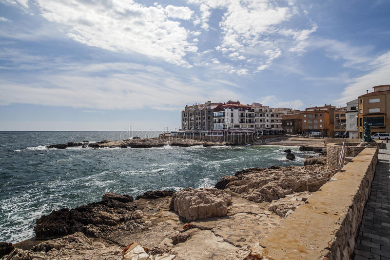 L埃斯卡拉,卡塔龙尼亚,西班牙 免版税库存图片