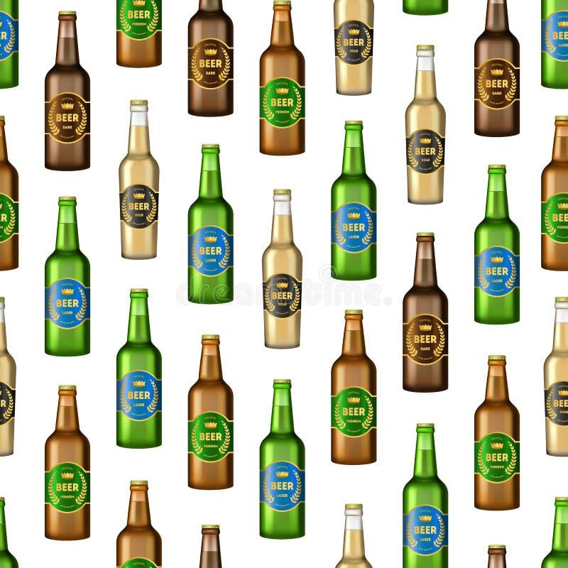 L'à bière détaillée réaliste en verre 3d bouteille le fond sans couture de modèle Vecteur illustration de vecteur