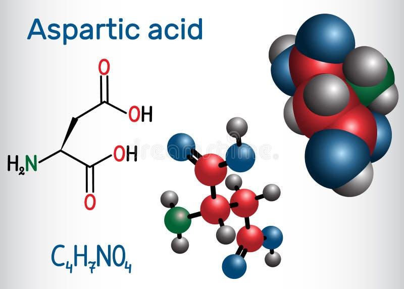L ácido Aspartic ácido aspartic, Asp, D, molécula proteinogenic do ácido aminado do aspartato Fórmula química estrutural e molécu ilustração do vetor