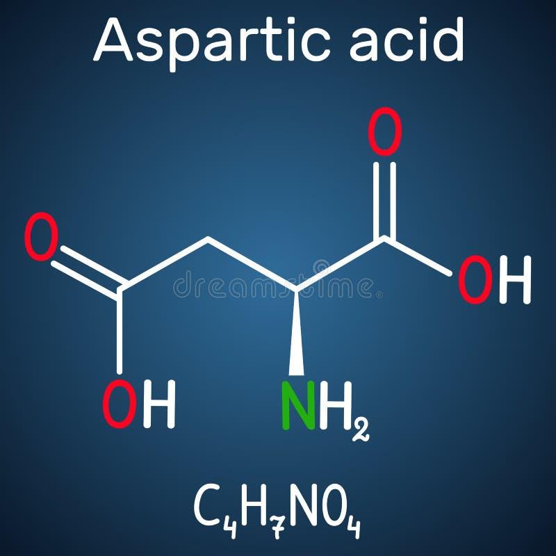 L ácido Aspartic ácido aspartic, Asp, D, molécula proteinogenic do ácido aminado do aspartato Fórmula química estrutural na obscu ilustração royalty free