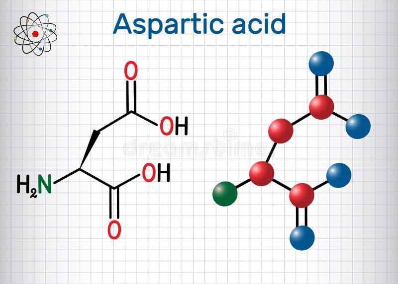 L ácido Aspartic ácido aspartic, Asp, D, molécula proteinogenic do ácido aminado do aspartato Folha de papel em uma gaiola estrut ilustração royalty free