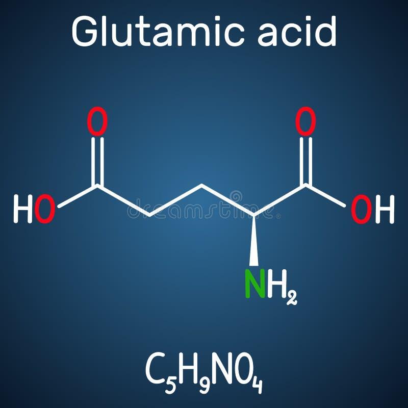L ácido glutámico ácido glutámico, Glu, molécula alifática del aminoácido de E Fórmula química estructural en el fondo azul marin ilustración del vector