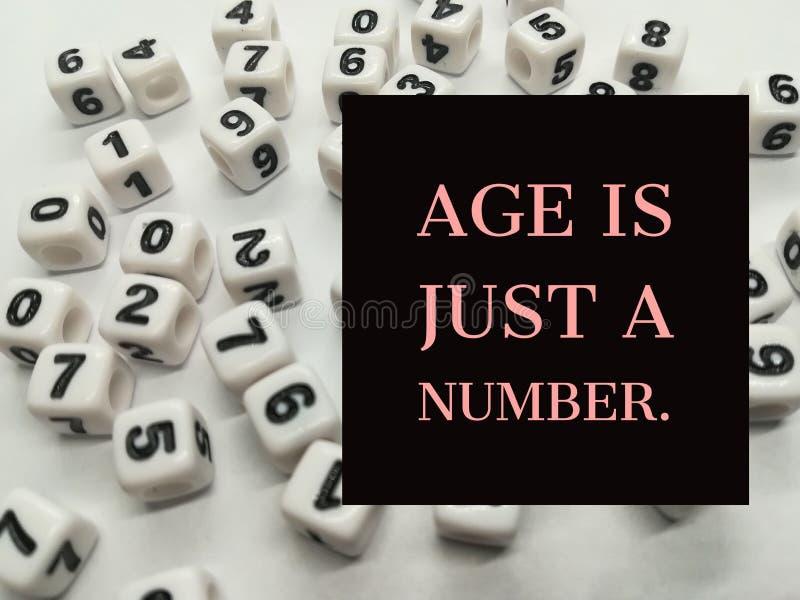 L'âge est juste une citation inspirée de nombre photo stock